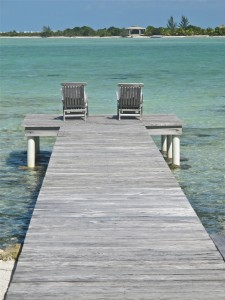 The dock of a room at Casa Estrella, Cayo Espanto Resort