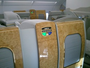 "View of 1st class cabin in Emirates ""The Beast"""