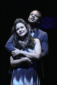 Lovers Florence (Joan Almedilla) and Anatoly (Elijah Rock) Photo: Michael Lamont