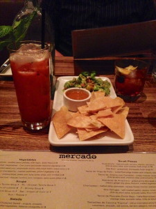 Guacamole with Westside Fresa & New Fashioned cocktails at Mercado