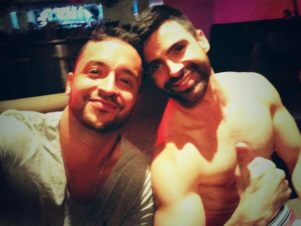 "Jai Rodriguez with Facundo Rodriguez on set of ""Hustling"""