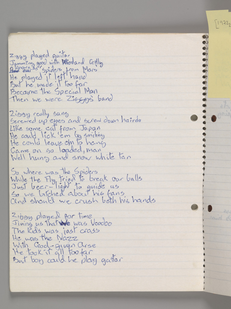 "Original lyrics for ""Ziggy Stardust"" by David Bowie, 1972 Courtesy of The David Bowie Archive Image @Victoria and Albert Museum"