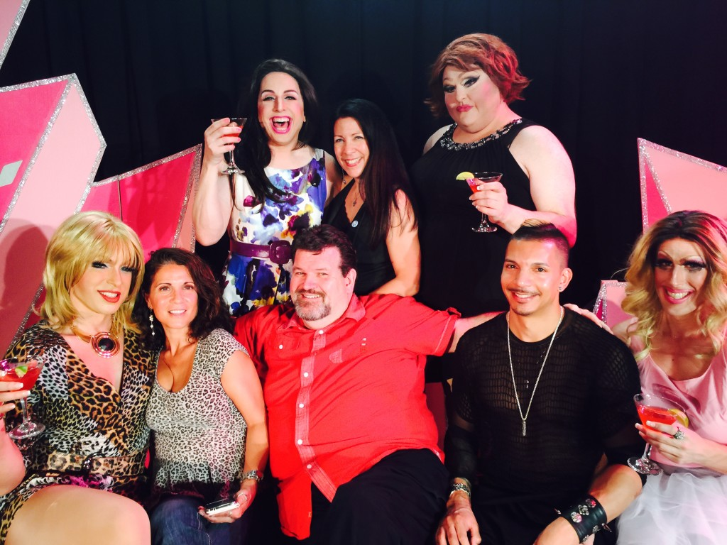 """The cast of the drag version of """"Sex and the City"""" (D'Arcy Drollinger, Steven LeMayLady Bear, Sue Casawith Kevin M. Thomas, Steve V. Rodriguez, Lisa Aquilina and Vivian Meade"""