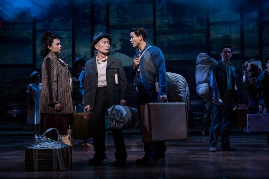 "Lea Salonga, George Takei, and Telly Leung in ""Allegiance"" on Broadway. (Photo by Matthew Murphy)"